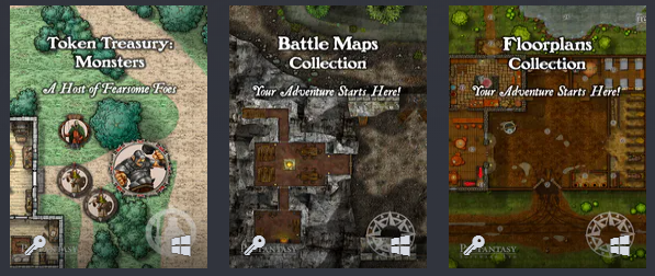 Profantasy Software Token Treasury: Monsters, Battle Maps Collection, and Floorplan Collection