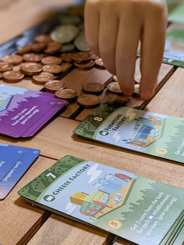 Machi Koro Cards and Coins